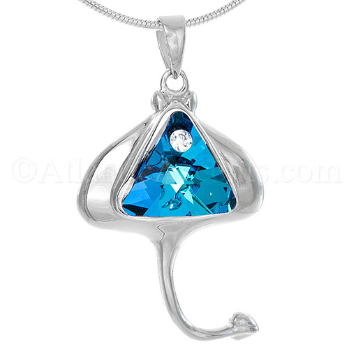 Sterling Silver Sting Ray Necklace Pendant With Blue Swarovski Crystal