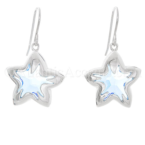 Sterling Silver Light Blue Swarovski Crystal Starfish Dangle Earrings