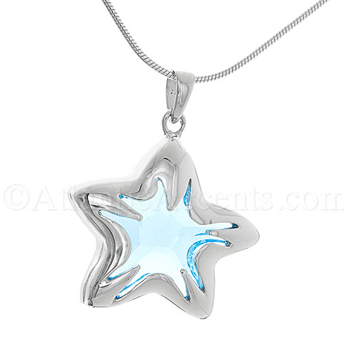 Sterling Silver Light Blue Swarovski Crystal Starfish Necklace Pendant