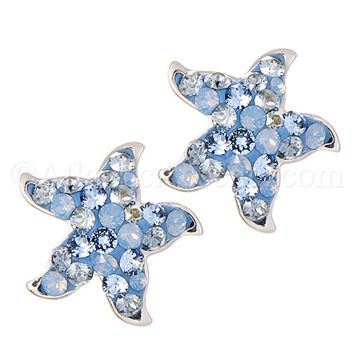Sterling Silver Starfish Earrings - Multicolor Blue Swarovski Crystals