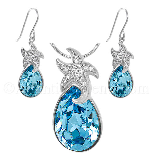 Sterling Silver Starfish Necklace & Earrings Set - Blue Swarovski