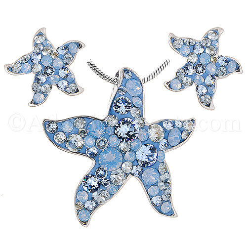 Sterling Silver Starfish Necklace & Earring Set Blue Swarovski Crystal
