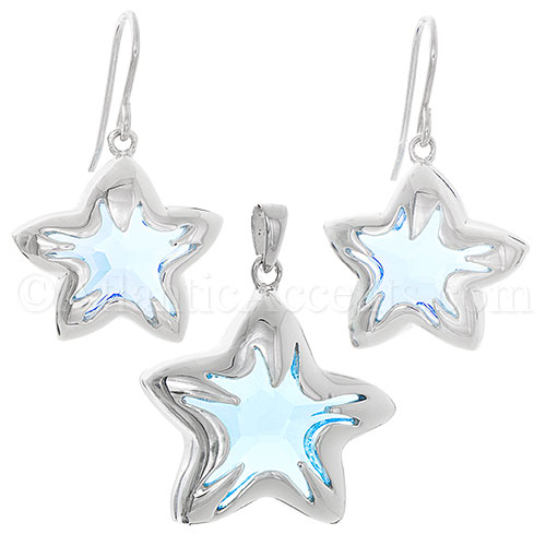 Sterling Silver Blue Swarovski Crystal Starfish Necklace & Earring Set