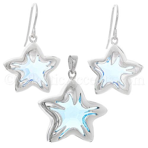 f20da85660ae0 $154.95 - Sterling Silver Blue Swarovski Crystal Starfish Necklace ...