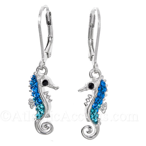 Sterling Silver Sea Horse Leverback Earrings - Blue Swarovski Crystal