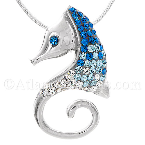 Sterling Silver Sea Horse Pendant with Blue Swarovski Crystal Inlay