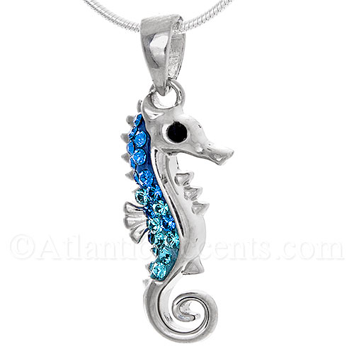 Sterling Silver Sea Horse Necklace Pendant with Blue Swarovski Crystal