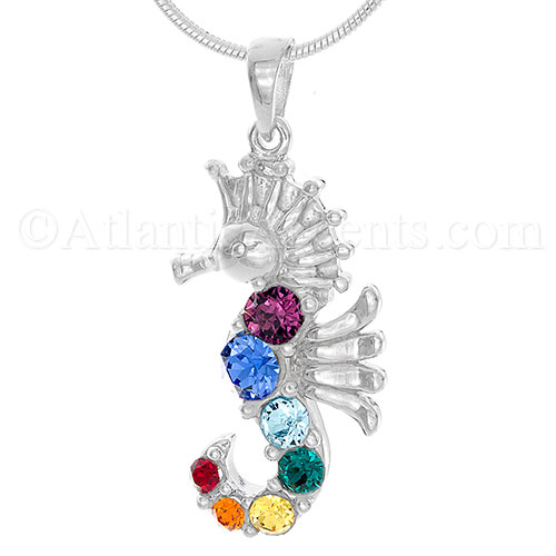 Sterling Silver Rainbow Sea Horse Pendant with Swarovski Crystals