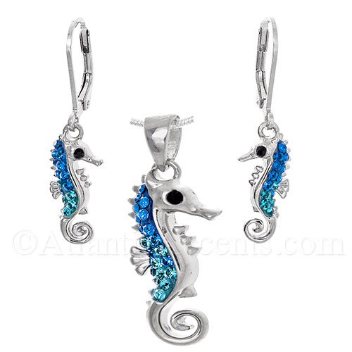 Sterling Silver Sea Horse Necklace & Earrings Set - Blue Swarovski