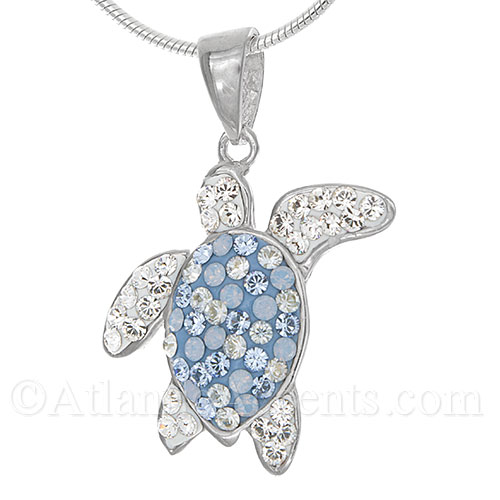 4295 sterling silver sea turtle pendant with blue swarovski sterling silver sea turtle pendant with blue swarovski crystal inlay mozeypictures Images