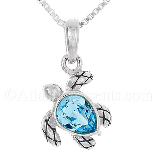 Sterling Silver Sea Turtle Pendant with Blue Swarovski Crystal