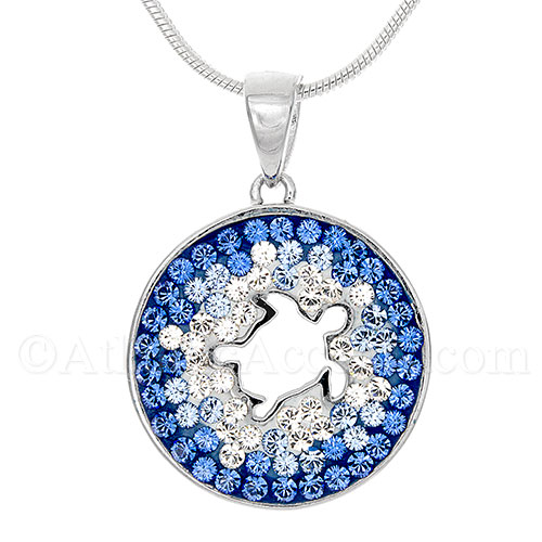 Sterling Silver Sea Turtle Cutout Pendant with Swarovski Crystal Inlay