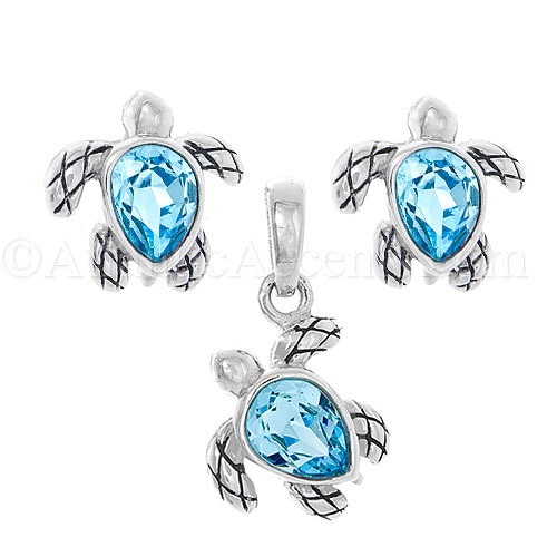 Sterling Silver Sea Turtle Necklace & Earrings Set with Blue Swarovki