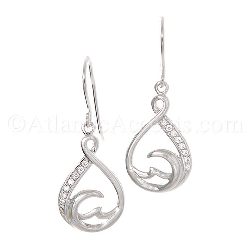 Sterling Silver Teardrop Wave Dangle Earrings with Clear CZ