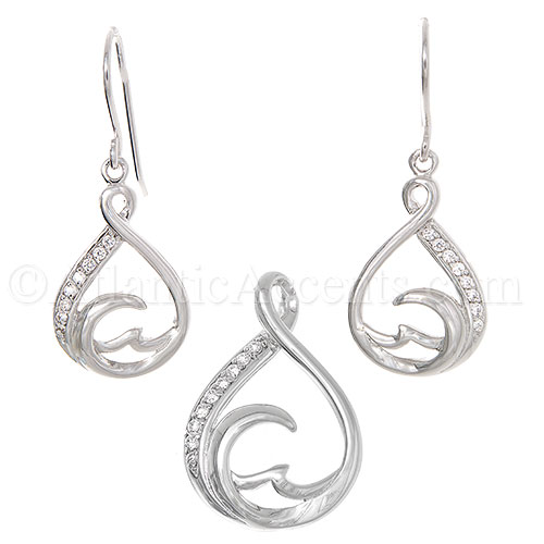 Sterling Silver Teardrop Wave Necklace and Earrings Set with Clear CZ - Click Image to Close