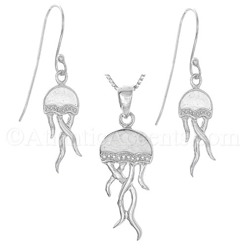 Sterling Silver Jellyfish Necklace and Earring Set with White Inlay