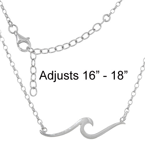 "Sterling Silver Ocean Wave Necklace, Adjusts from 16"" to 18"""