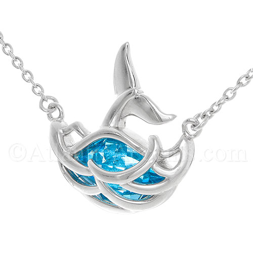 Silver Whale Tail Necklace in Swarovski Crystal Wave, Adjusts to 18""