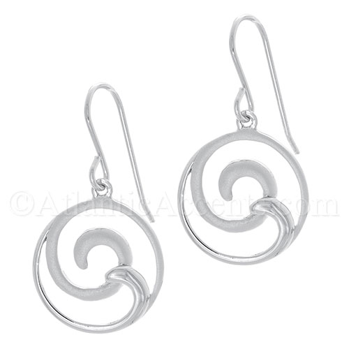 Sterling Silver 2-Tone Double Wave Dangle Earrings