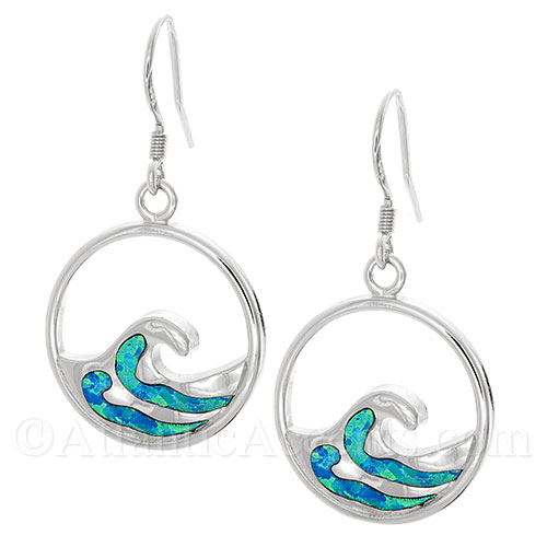 Sterling Silver Wave Dangle Earrings With Synthetic Opal Inlay