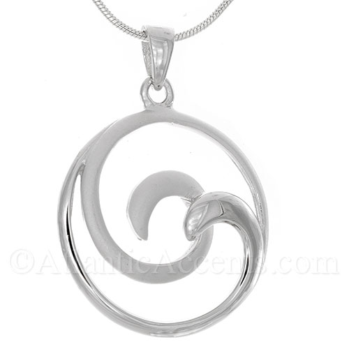 Sterling Silver 2-Tone Double Wave Necklace Pendant