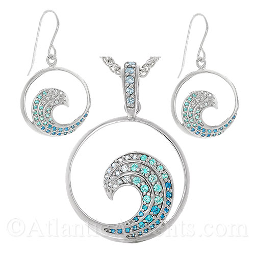 Sterling Silver Ocean Wave Necklace and Earrings Set w Blue Crystals