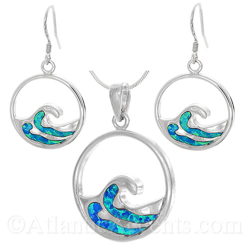 Sterling Silver Wave Necklace & Dangle Earrings Set with Opal Inlay