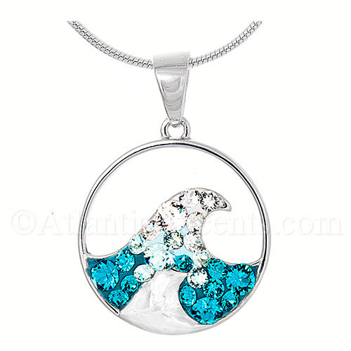 Sterling Silver Whitecap Wave Pendant with Swarovski Crystal Inlay