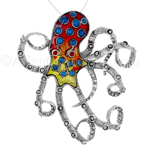 Sterling Silver Extra Large Colorfully Enameled Octopus Pendant