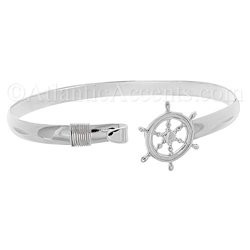 Sterling Silver Ships Wheel Hook Bangle Ocean Bracelet - 6MM