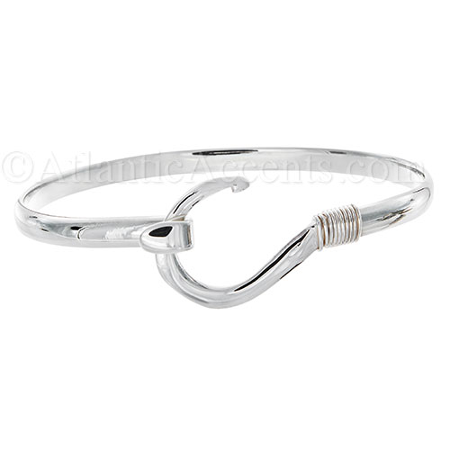Sterling Silver Fish Hook Bangle Bracelet - 4MM