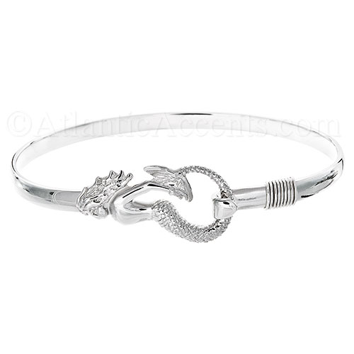 Sterling Silver Mermaid Hook Bangle Bracelet - 4MM