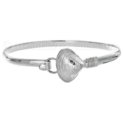 Sterling Silver Quahog Shell Hook Bangle Bracelet - 4MM