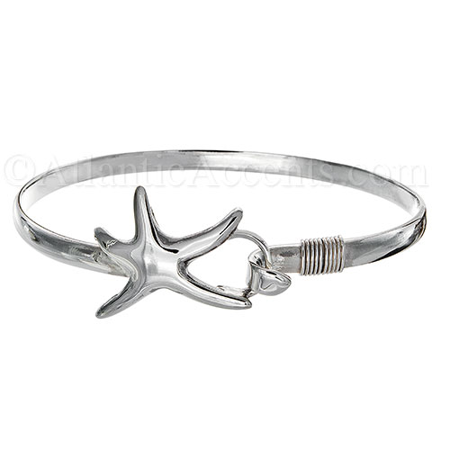 Sterling Silver Dancing Starfish Hook Bangle Bracelet - 4MM