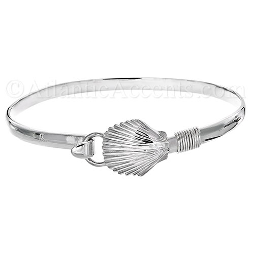 Sterling Silver Scallop Shell Hook Bangle Bracelet - 4MM