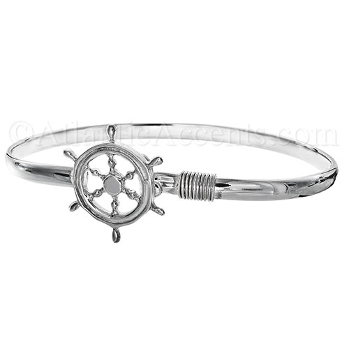 Sterling Silver Ships Wheel Hook Bangle Bracelet - 4MM